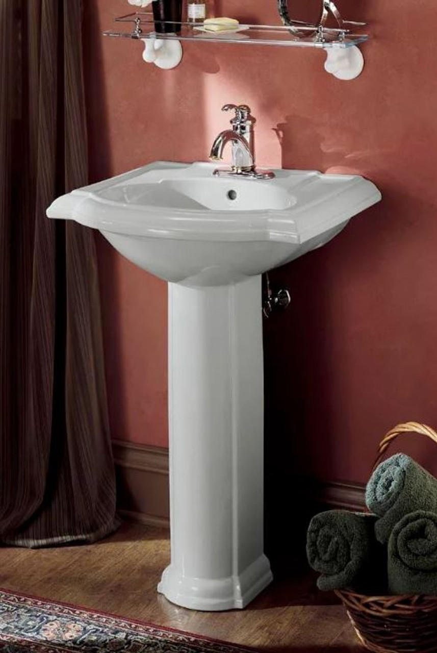 kohler devonshire 24 pedestal lavatory sink with single hole faucet drilling