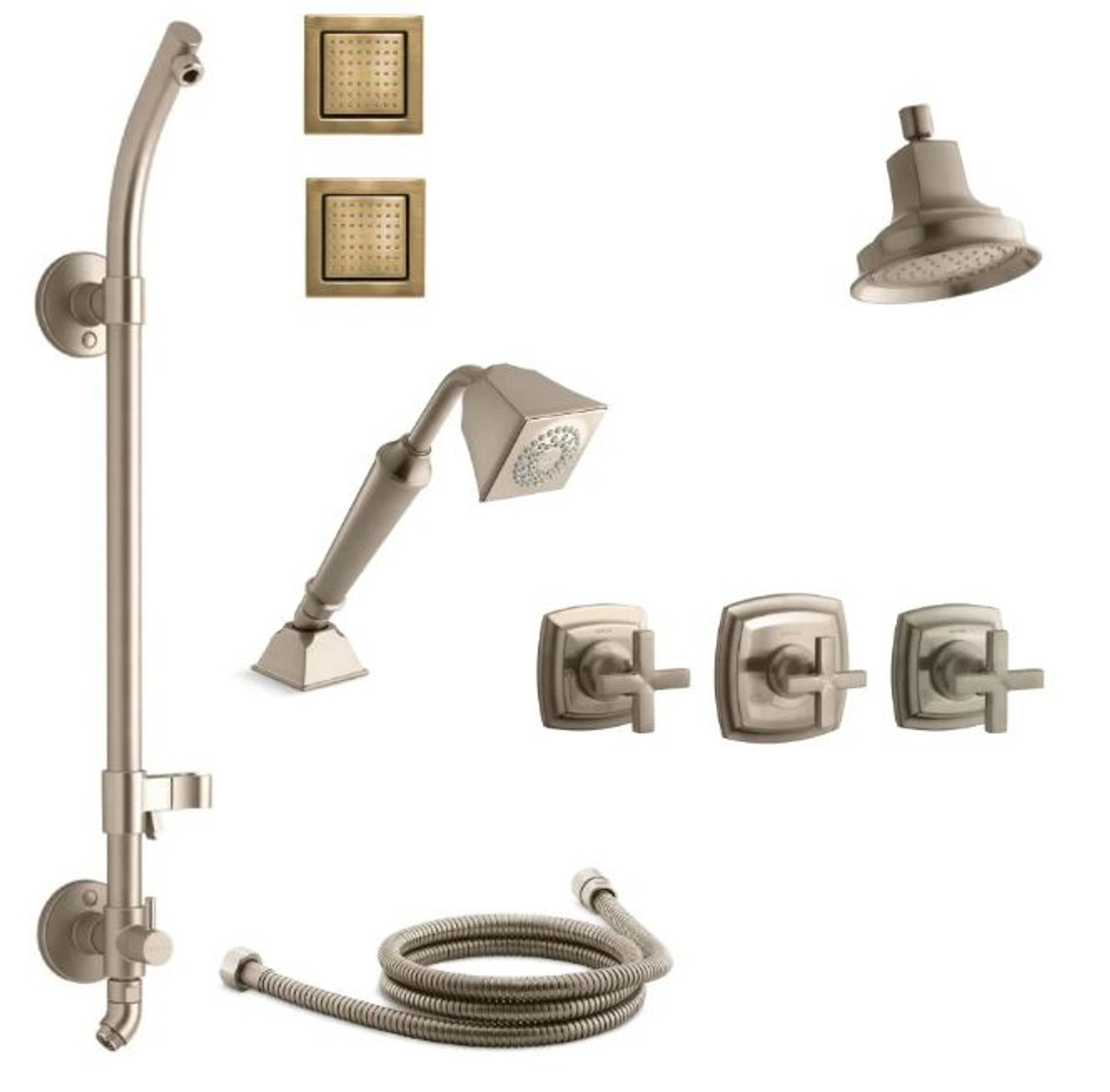 kohler margaux thermostatic hydrorail shower system with single function shower head hand shower body sprays cross handle valve trims