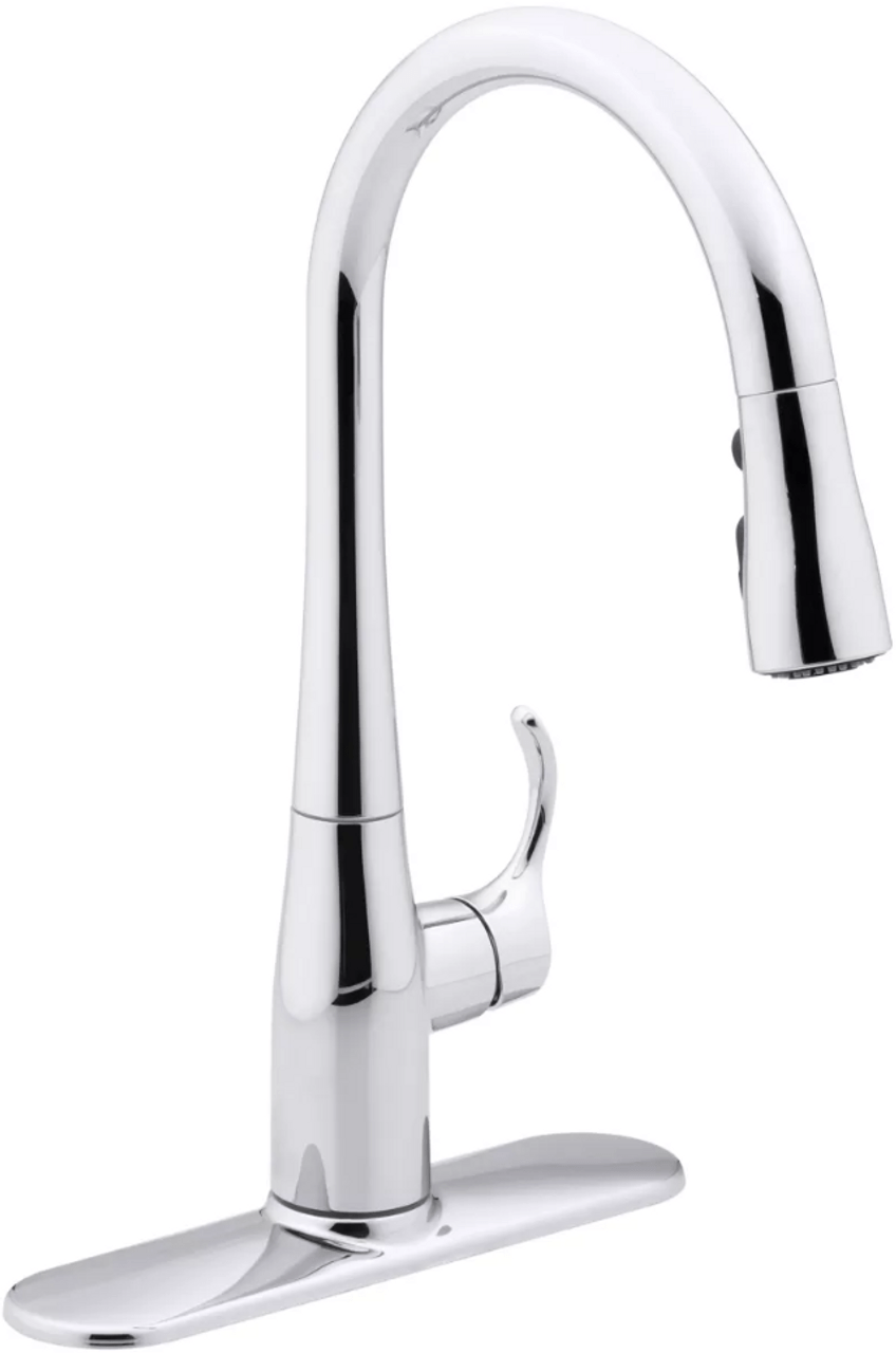 kohler simplice single hole or three hole kitchen sink faucet with 15 3 8 pull down spout docknetik magnetic docking system and a 3 function
