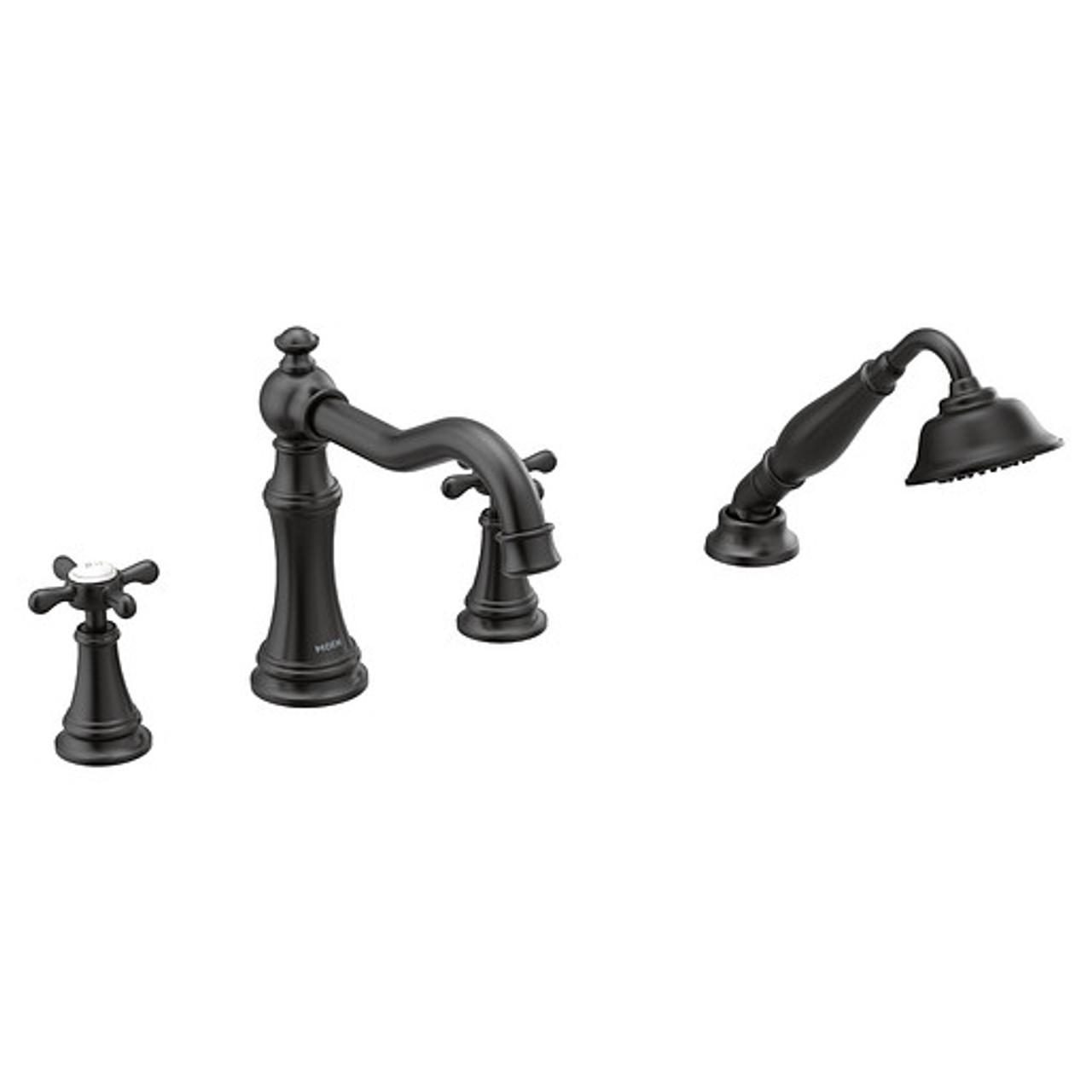 moen matte black two handle diverter roman tub faucet includes hand shower
