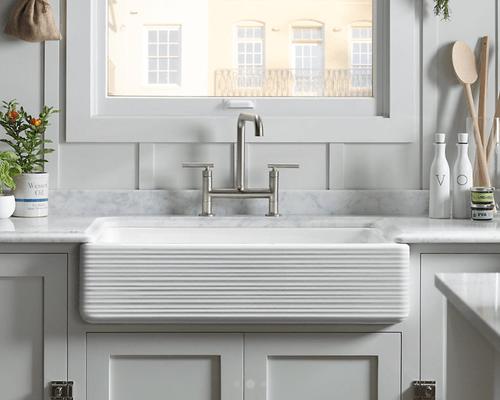 kohler apron whitehaven self trimming smart divide kitchen sink