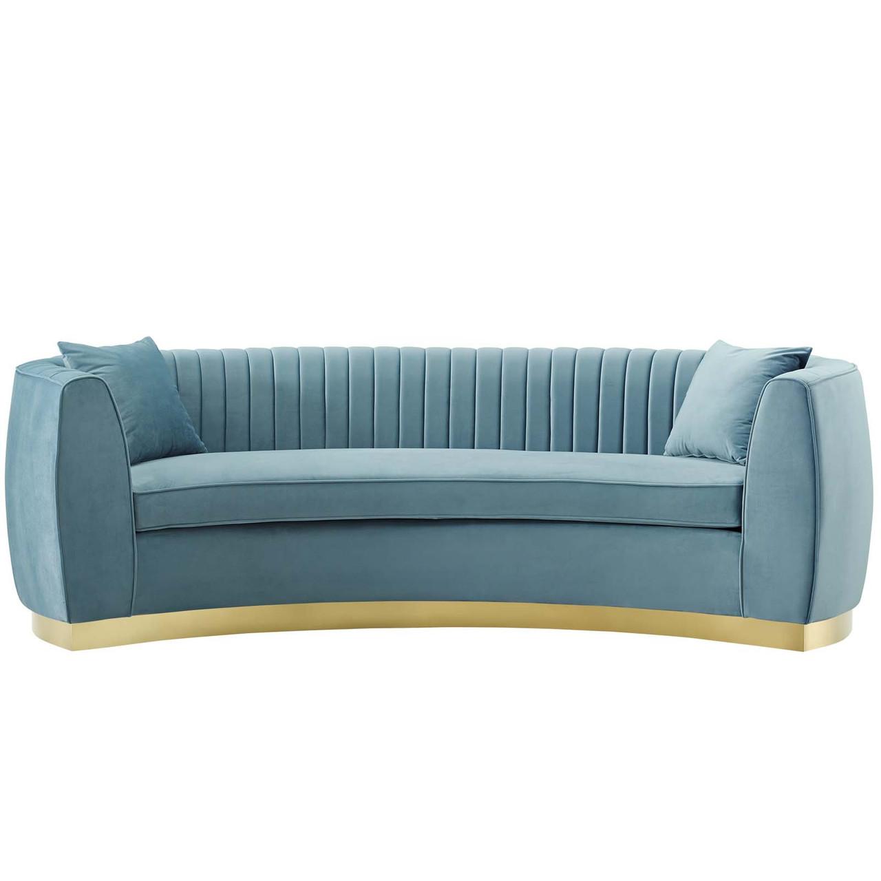 Enthusiastic Vertical Channel Tufted Curved Performance Velvet Sofa Velvet Fabric Metal Steel Light Blue 17356 House Bound