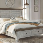 The Havalance White Gray California King Poster Bed With Storage Available At Furniture Connection Serving Clarksville Tennessee And Ft Campbell Kentucky