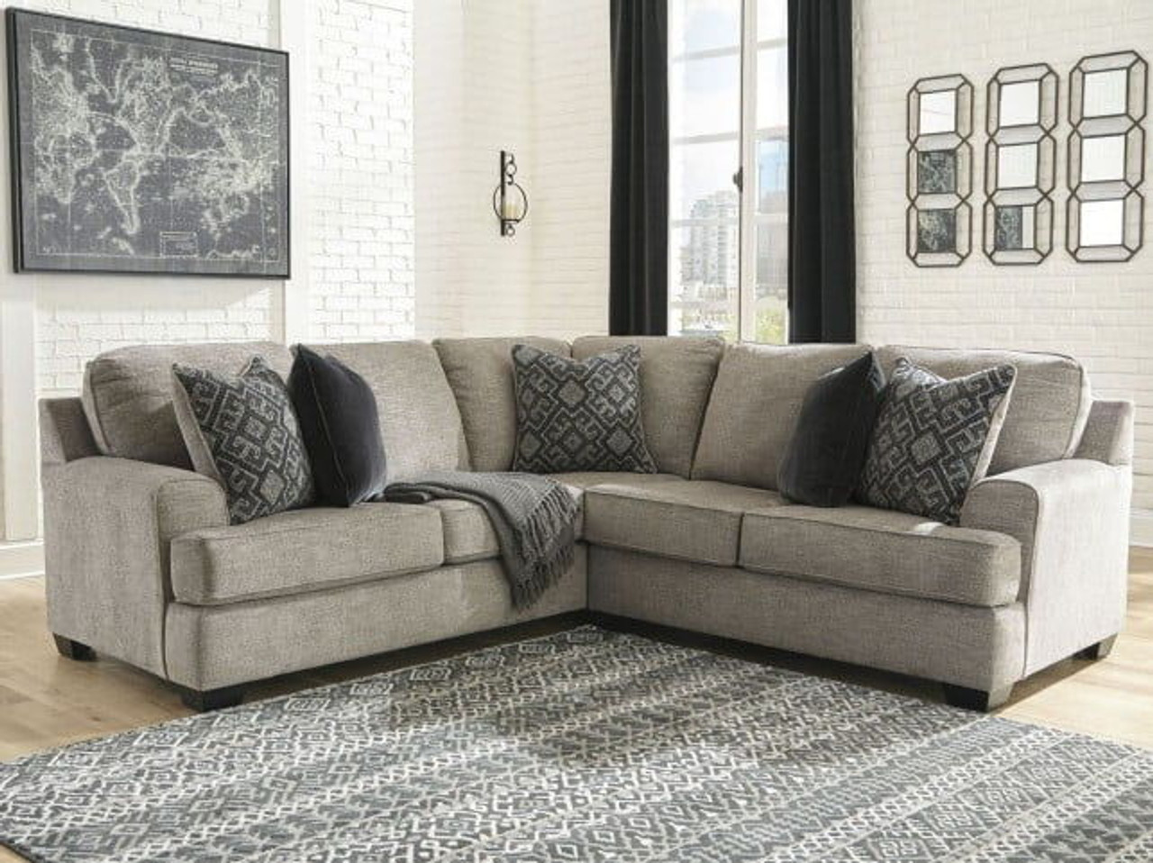 bovarian stone laf sofa with corner wedge raf loveseat sectional