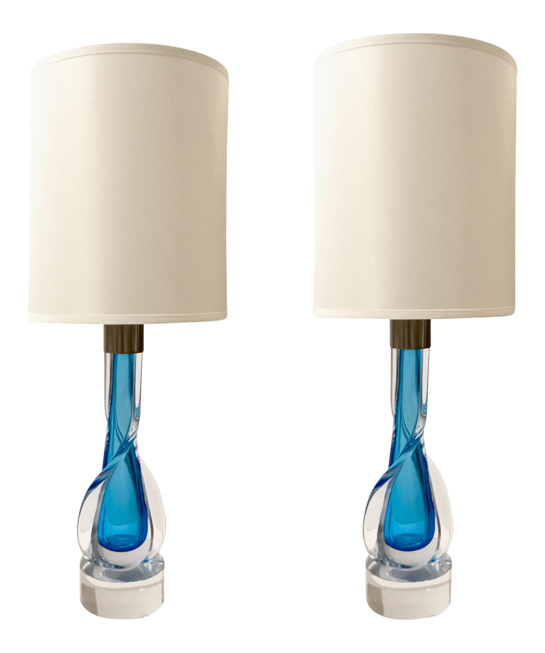 Mid Century Modern Murano Style Hand Blown Blue Art Glass Table Lamps Pair United States