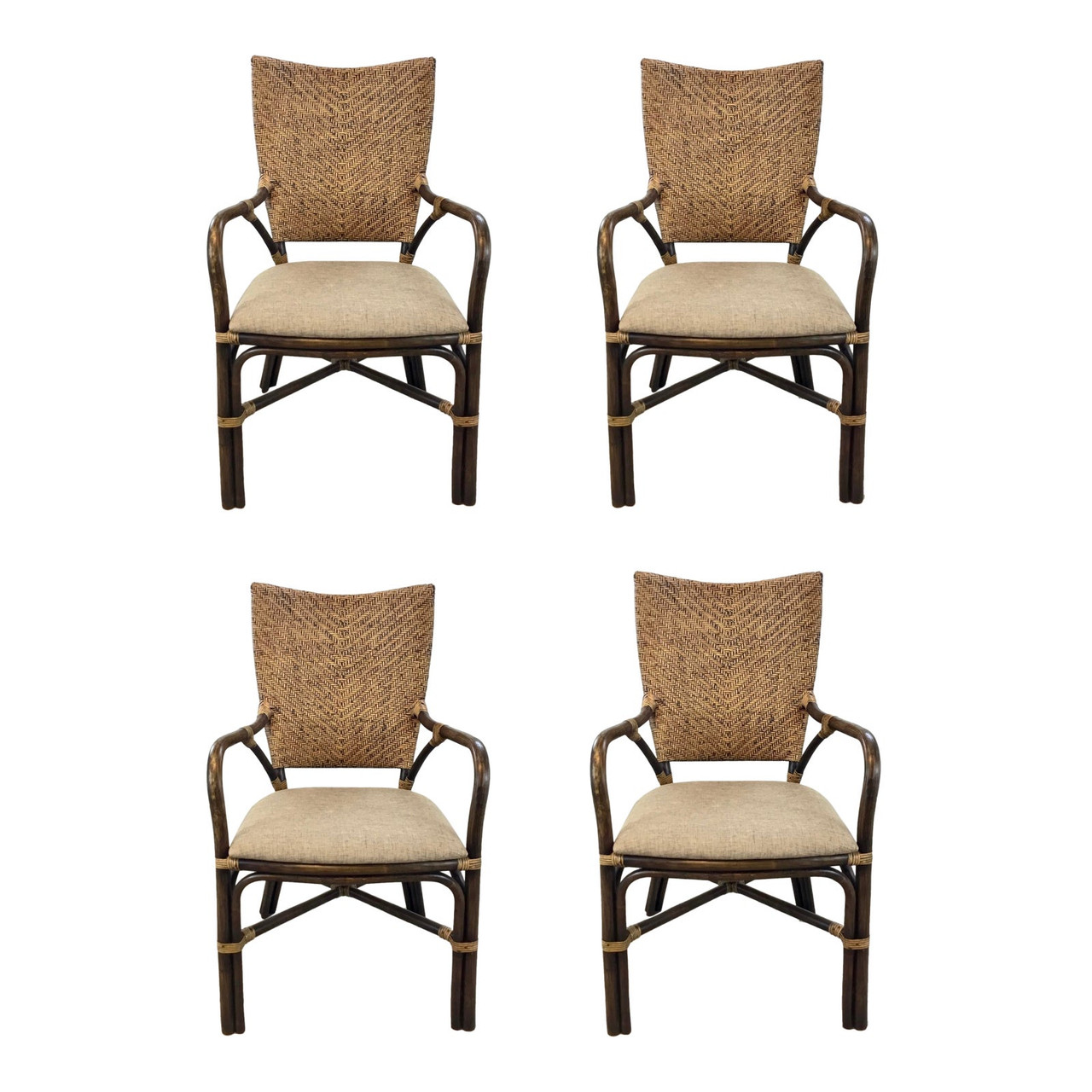 Asian Modern Bamboo And Rattan Dining Chairs Set Of Four United States
