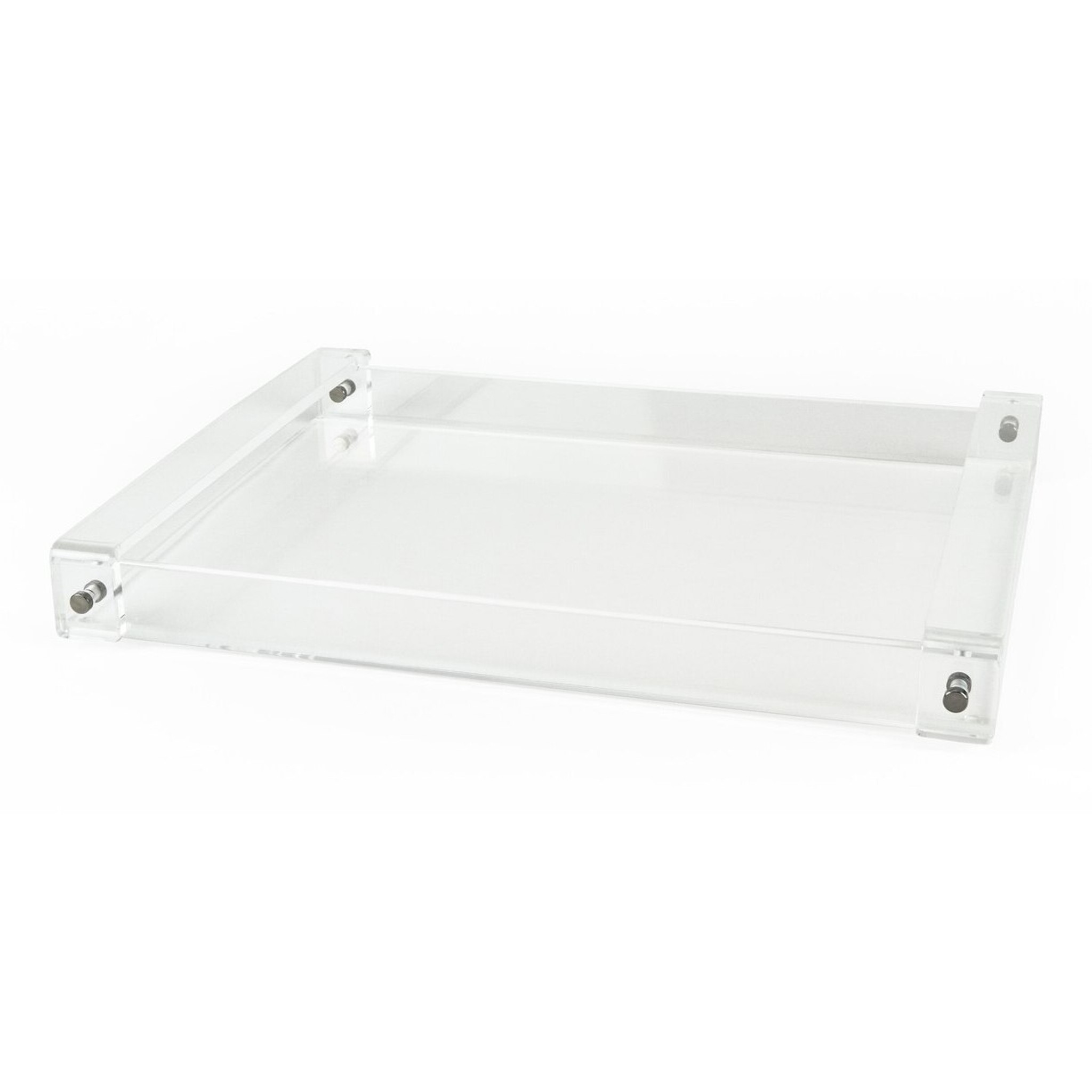 lucite serving tray with clear flat handles