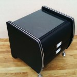 Black Silver Strip Trim Bedside Table Modern Design