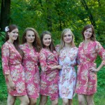 Marsala Dusty Burgundy Red Floral Posy Robes For Bridesmaids
