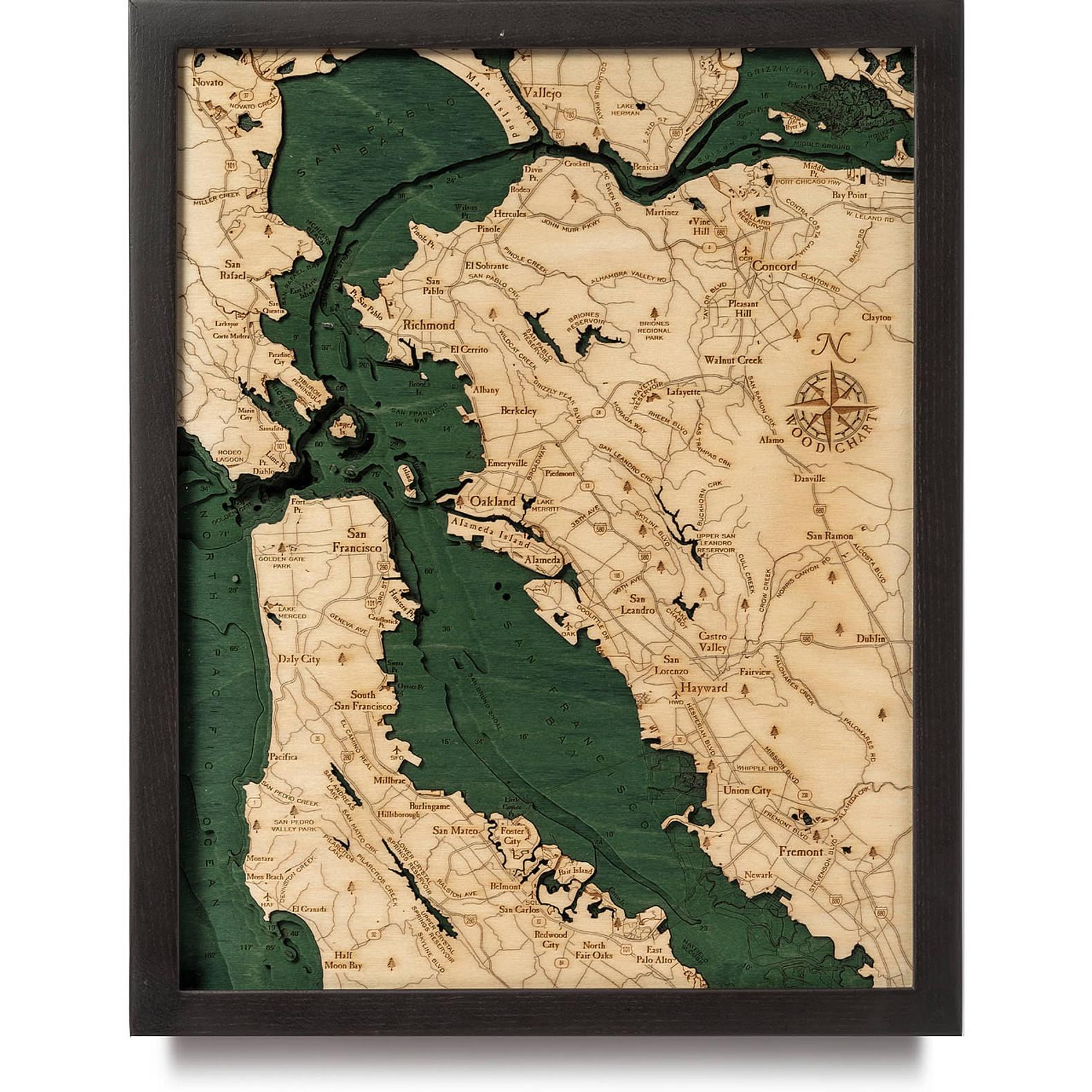 San Francisco Bay Wooden Map Art Topographic 3d Chart