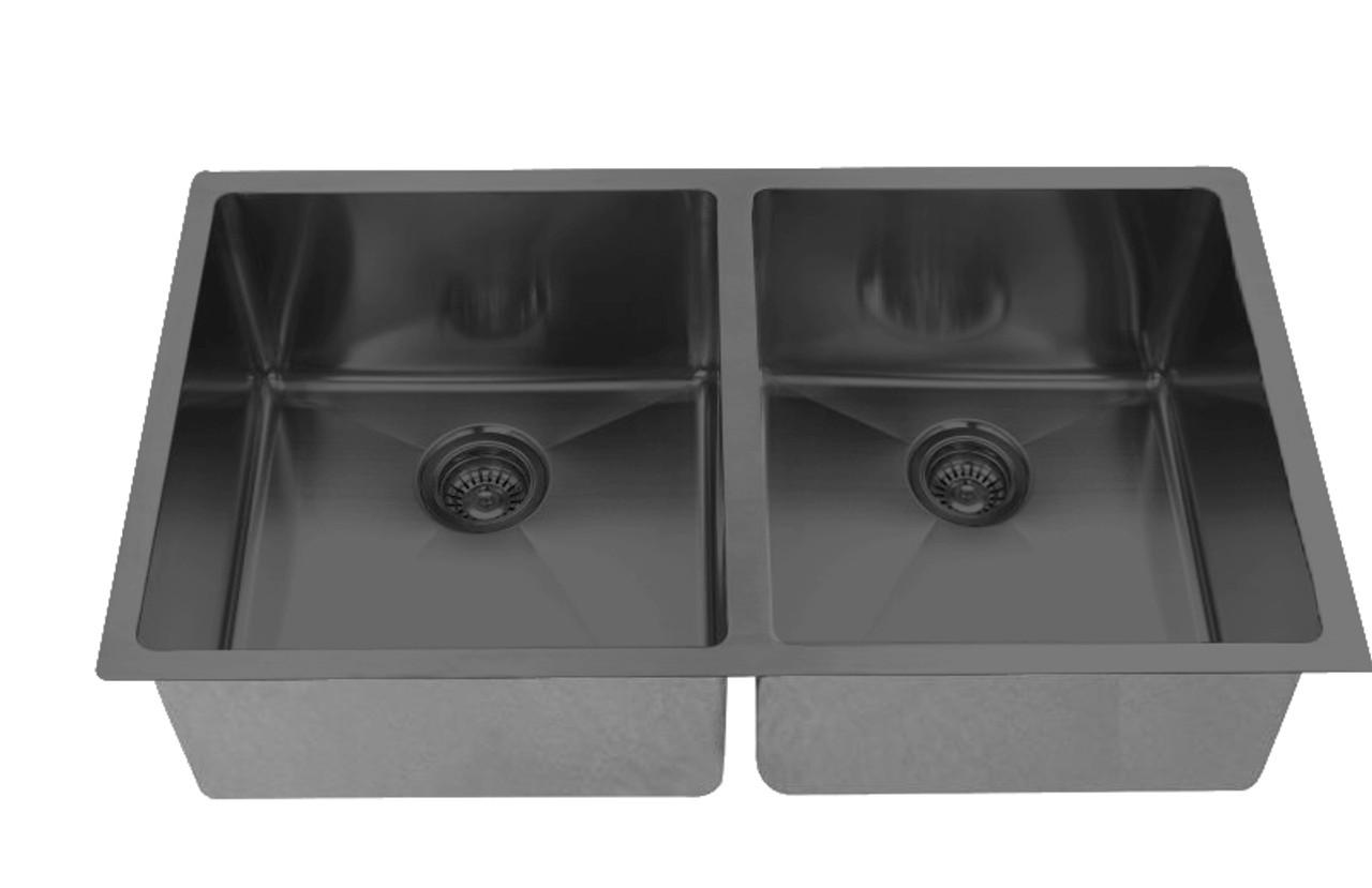 32 undermount double kitchen sink in black stainless