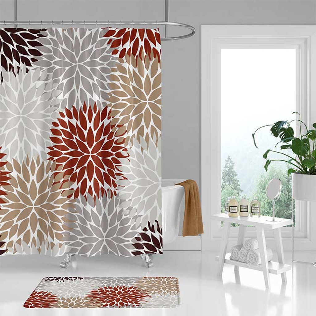 dahlia shower curtain bath mat in red tan grey and brown