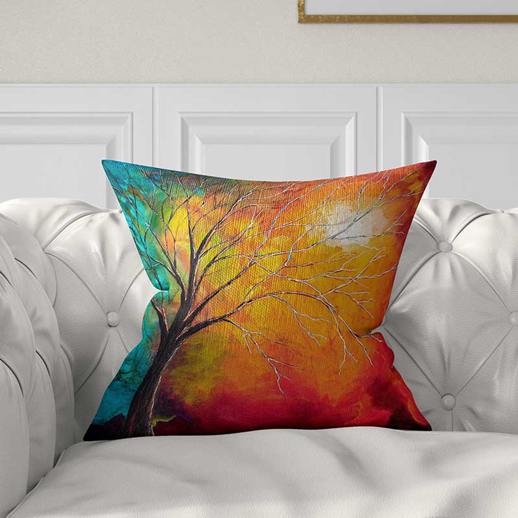 abstract art throw pillow cover in red orange and teal