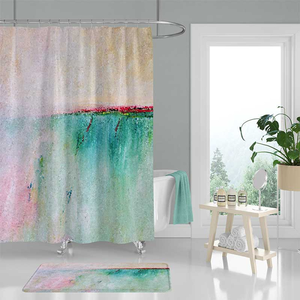 abstract art shower curtain coastal bath mat in pink and turquoise