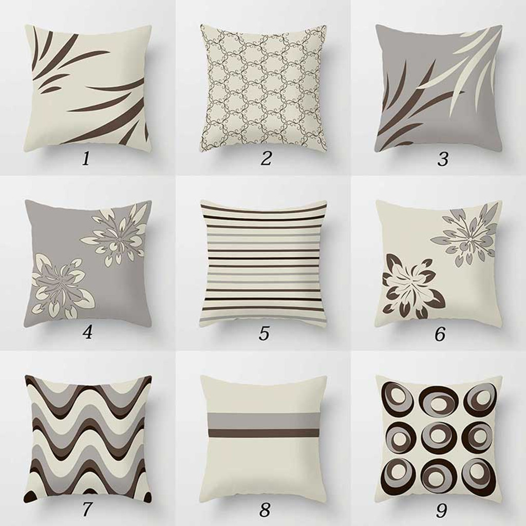 decorative pillow covers throw pillow shams gray brown beige cushion covers