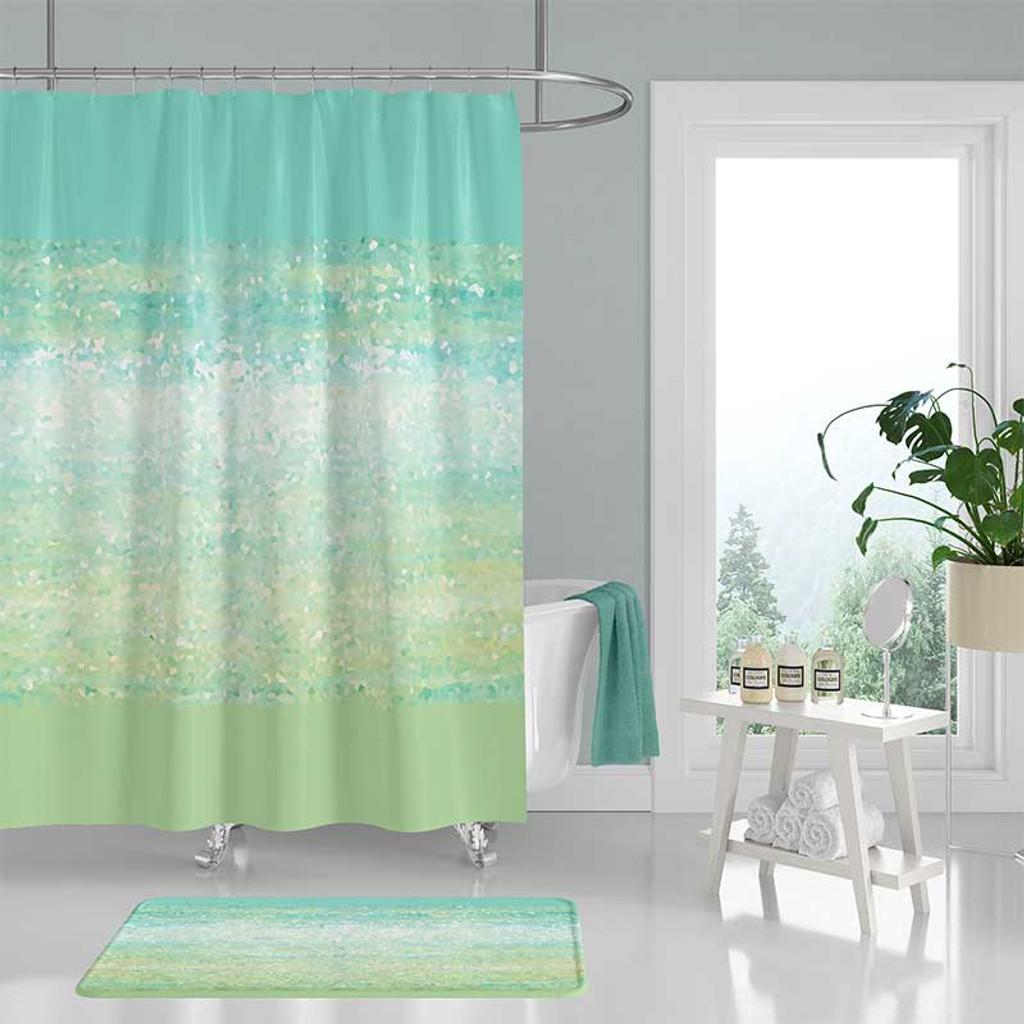 abstract coastal shower curtain bathroom rug in mint green and aqua blue
