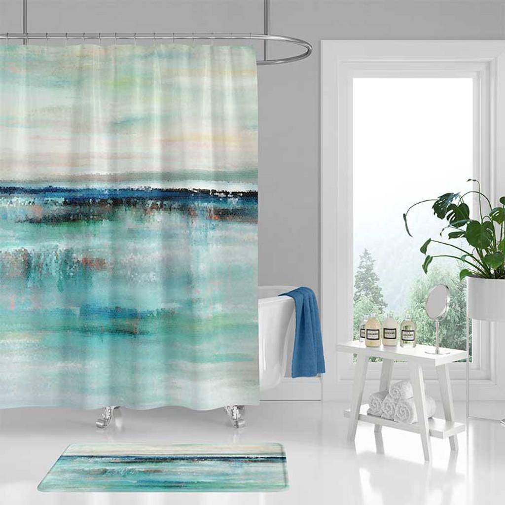 abstract art shower curtain bath mat coastal bathroom decor in blue and beige