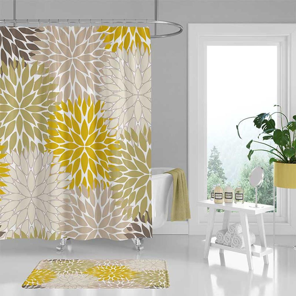 floral shower curtain bath mat mustard yellow green beige