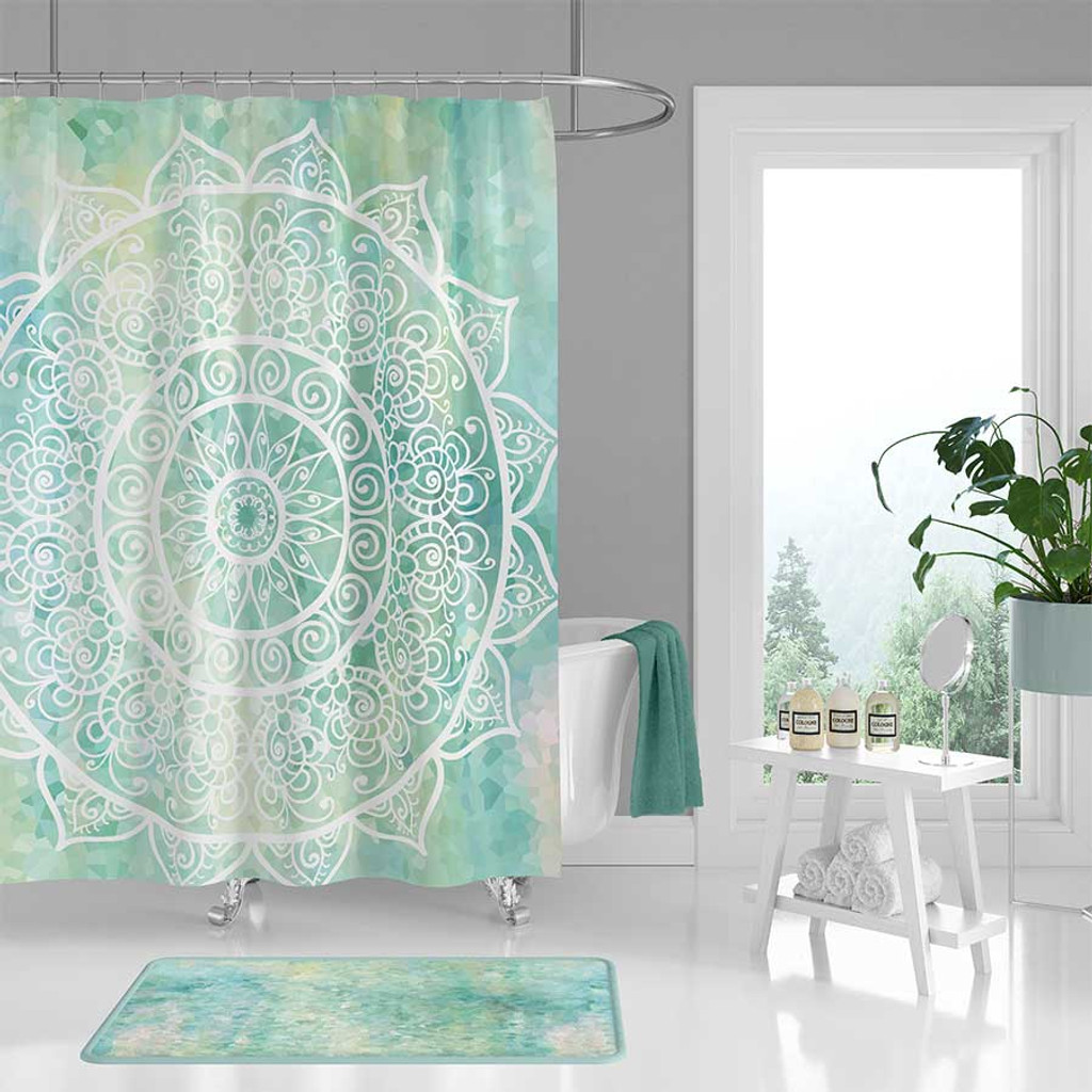 bohemian shower curtain bath mat aqua blue and mint green