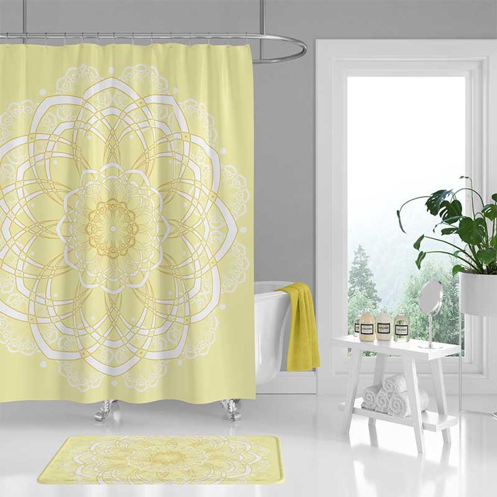 yellow bohemian shower curtain bath mat with mandala design