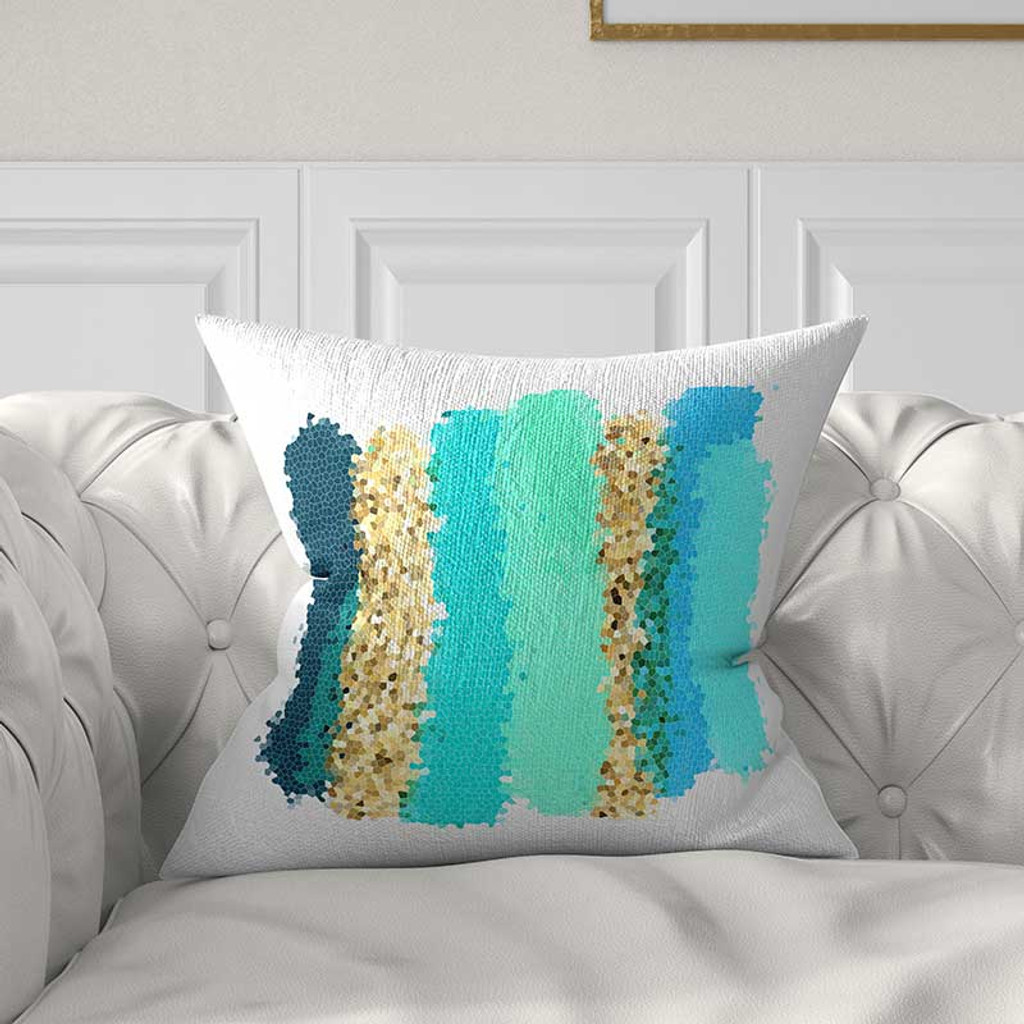 color block pillow cover decorative art pillow in teal blue and yellow