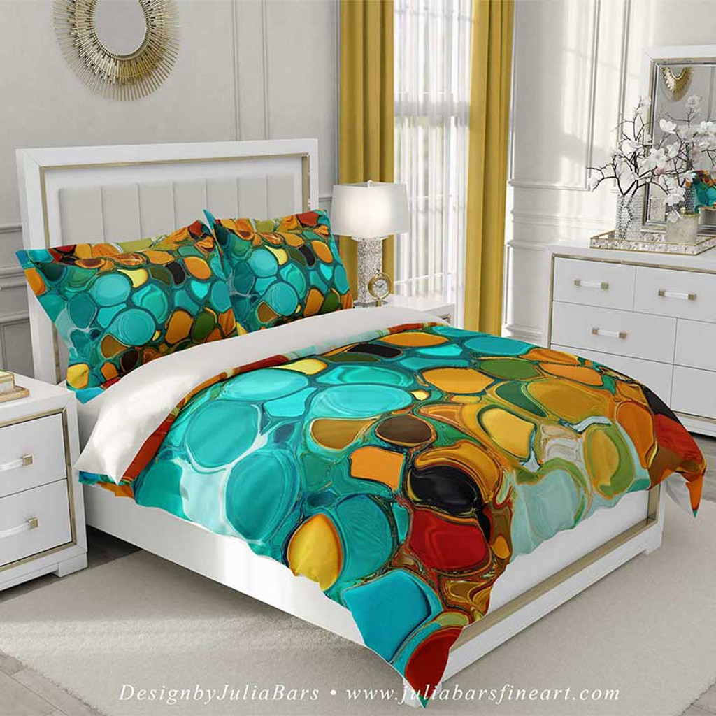 duvet cover and pillow shams with abstract print teal green orange