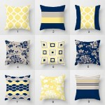 Blue Yellow And Beige Throw Pillow Covers Geometric Lumbar Pillows