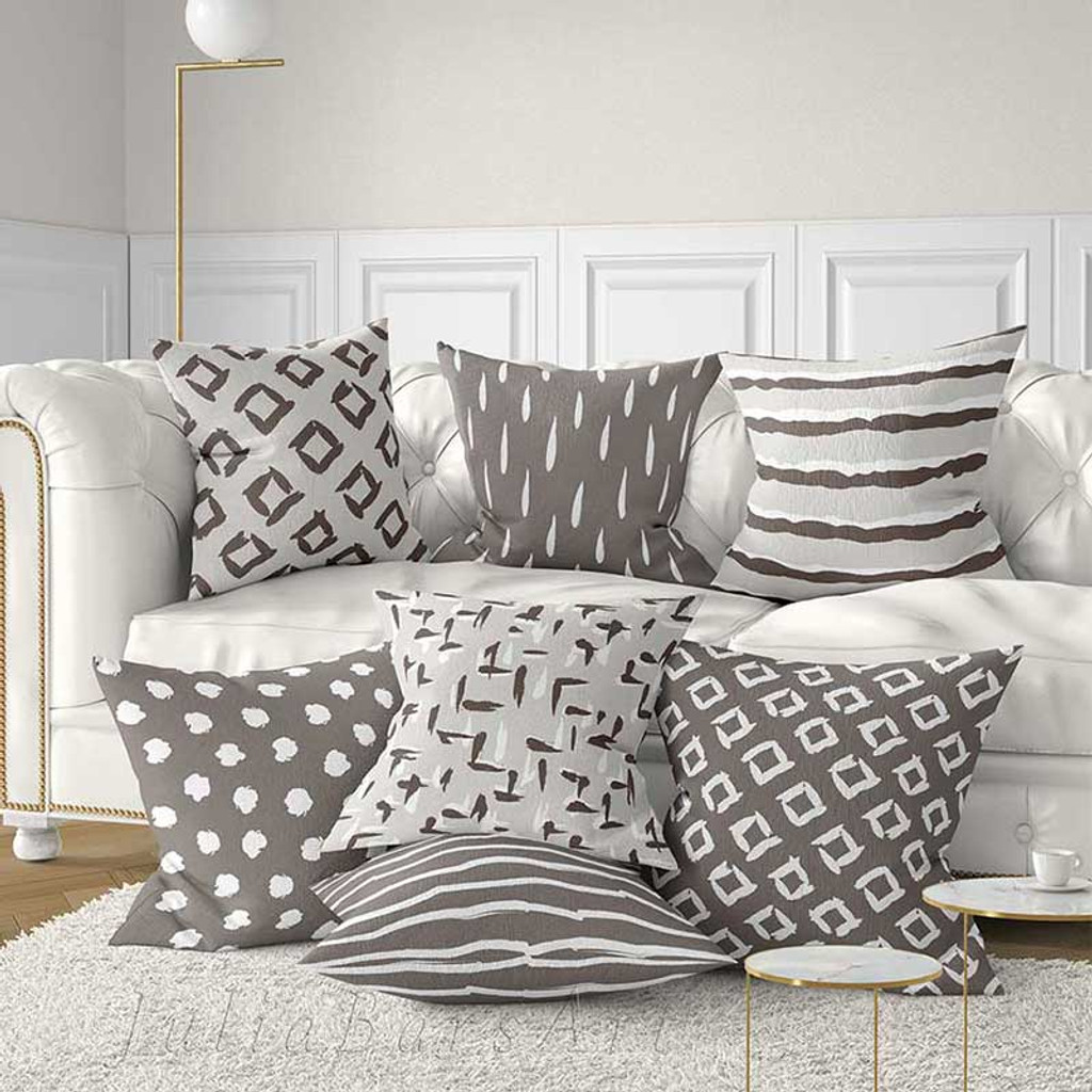 brown beige and gray throw pillow covers lumbar pillows scandinavian style