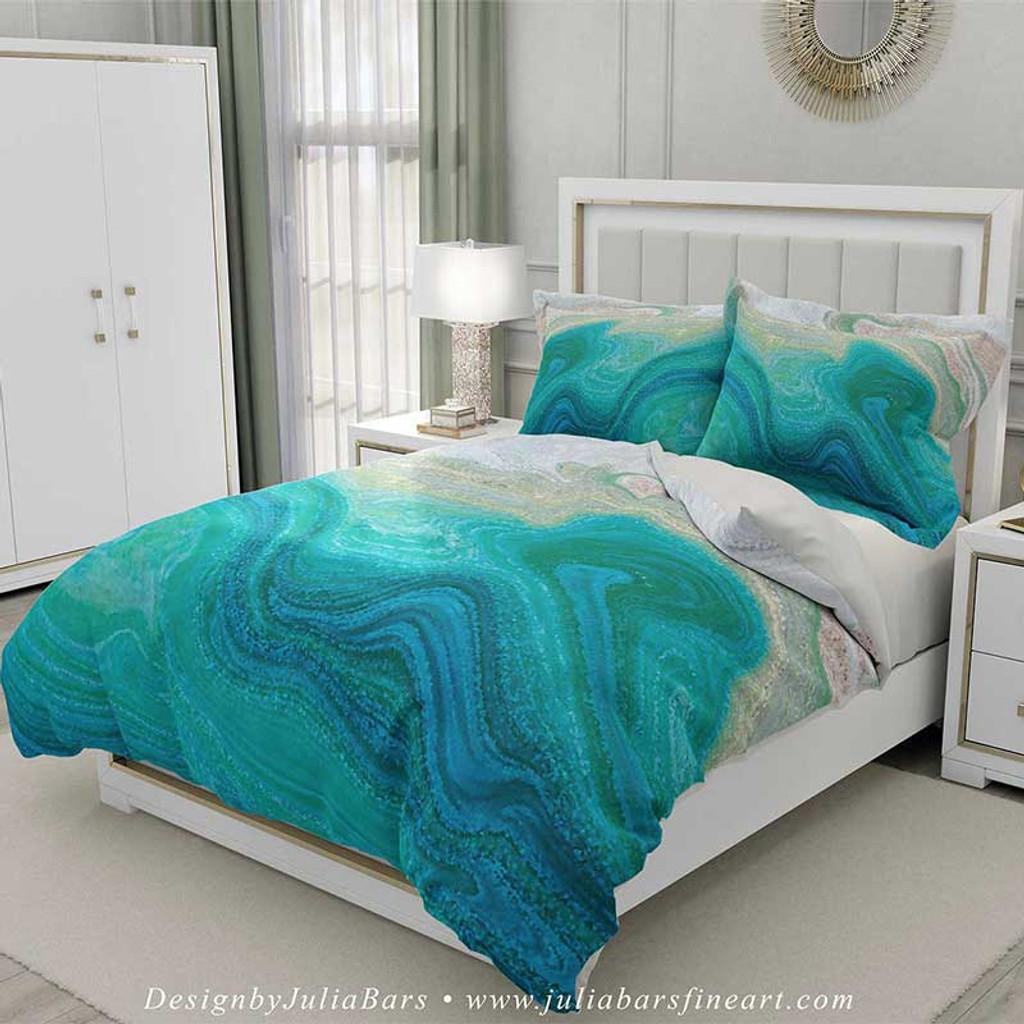 coastal duvet cover set ocean wave bedding teal seafoam green beige