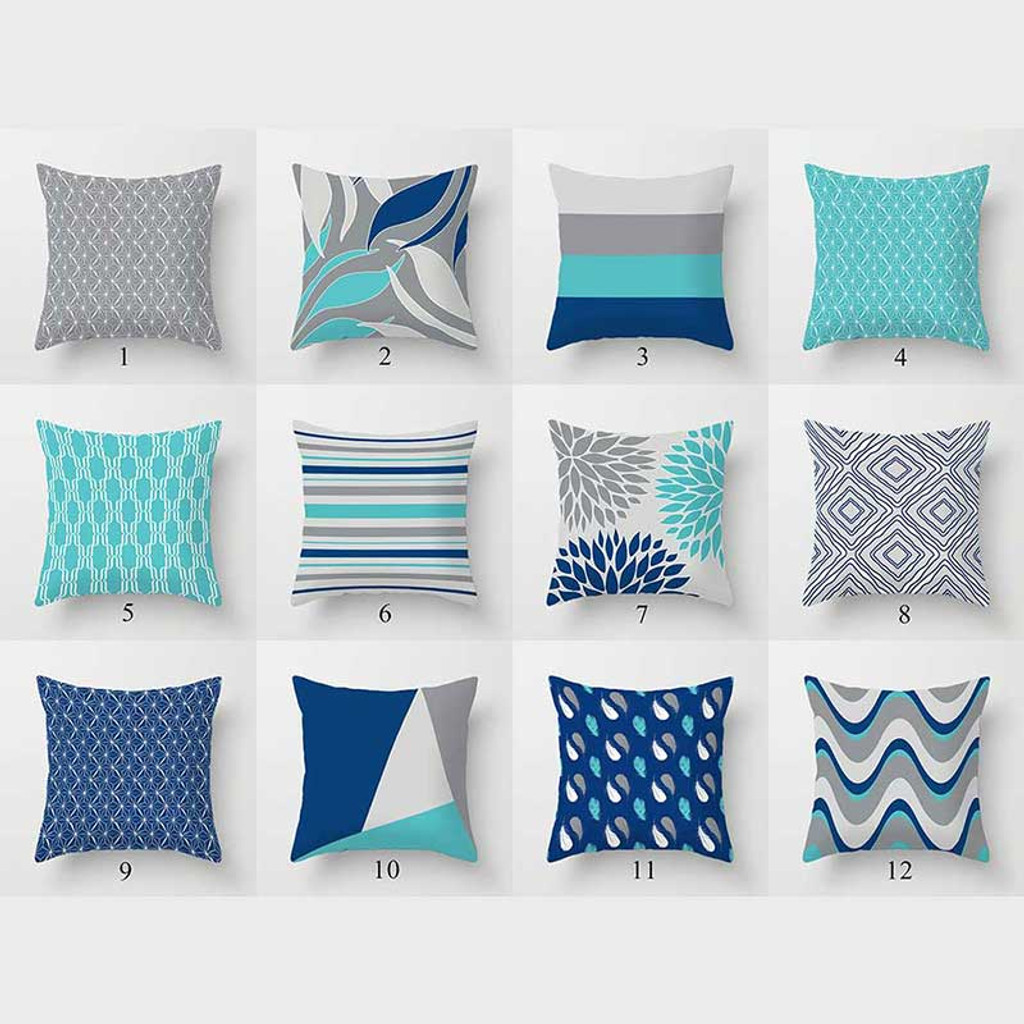 mix match cushion covers elegant pillow covers dark blue gray turquoise