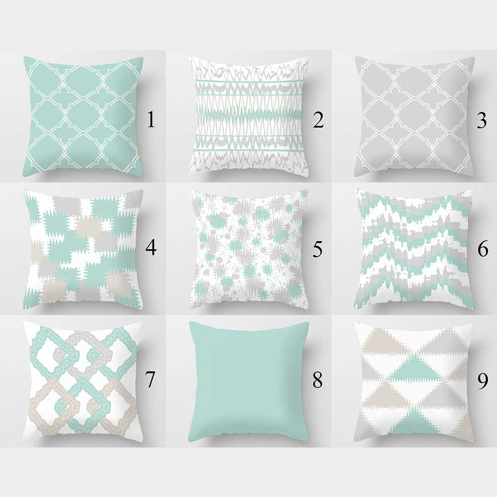 light turquoise throw pillow covers geometric cushion covers gray beige