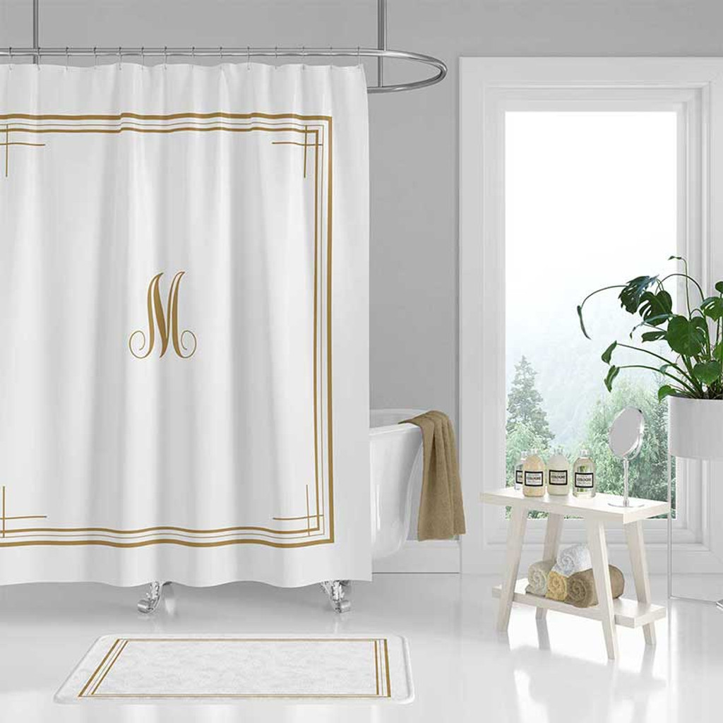 white shower curtain with golden monogram personalized bath curtain bath mat