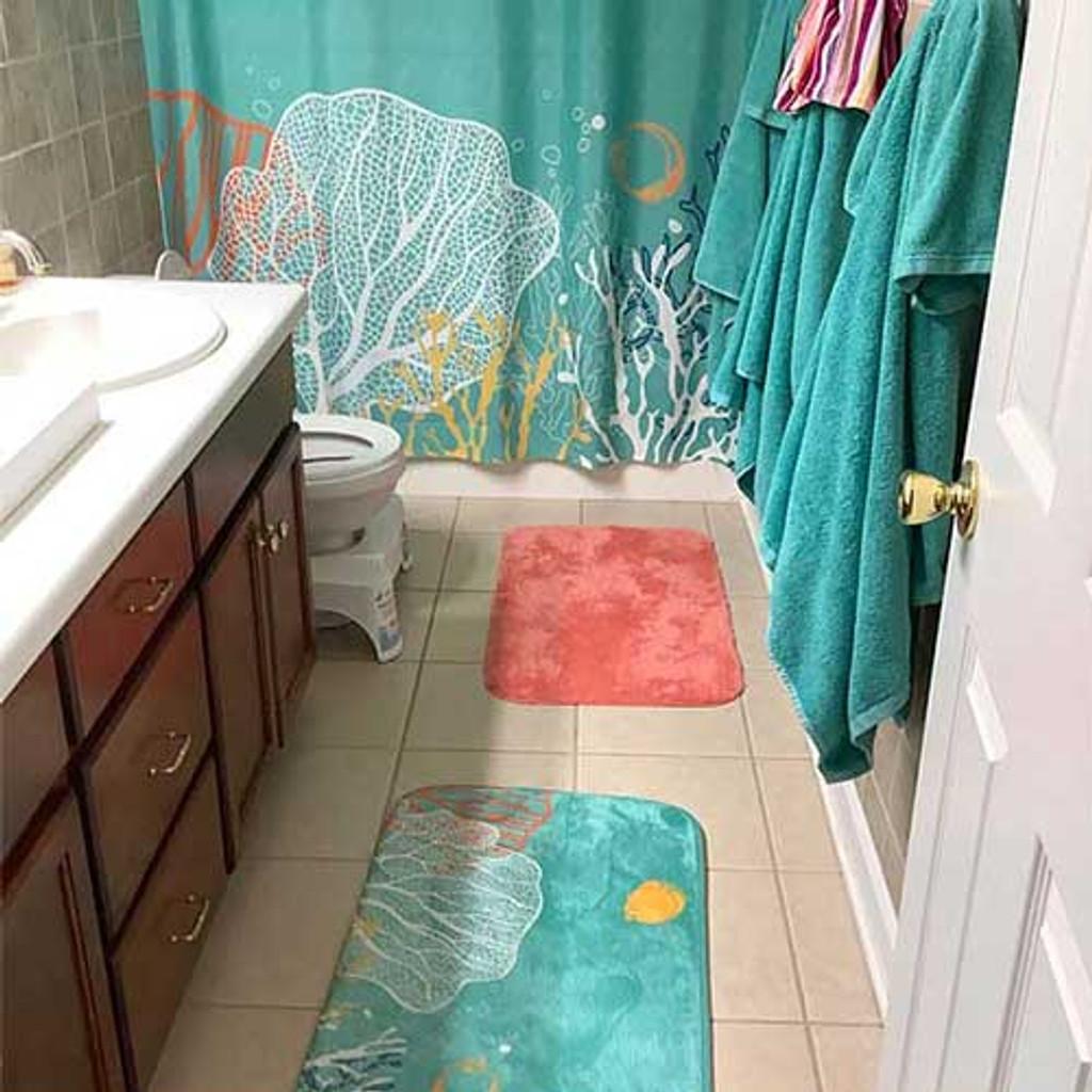 teal shower curtain bath mat underwater coral reef blue orange green