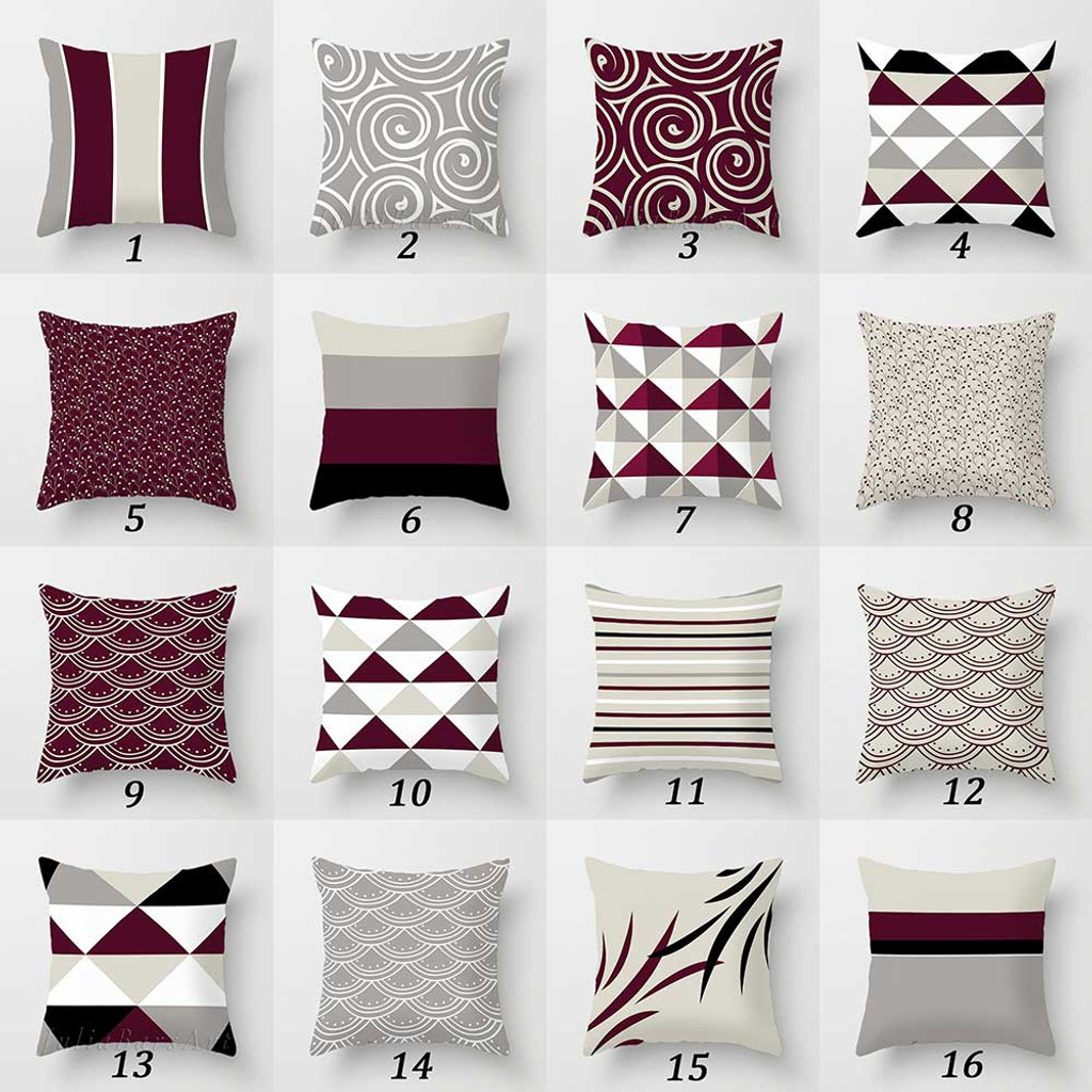 red gray black throw pillow covers geometric and floral cushions