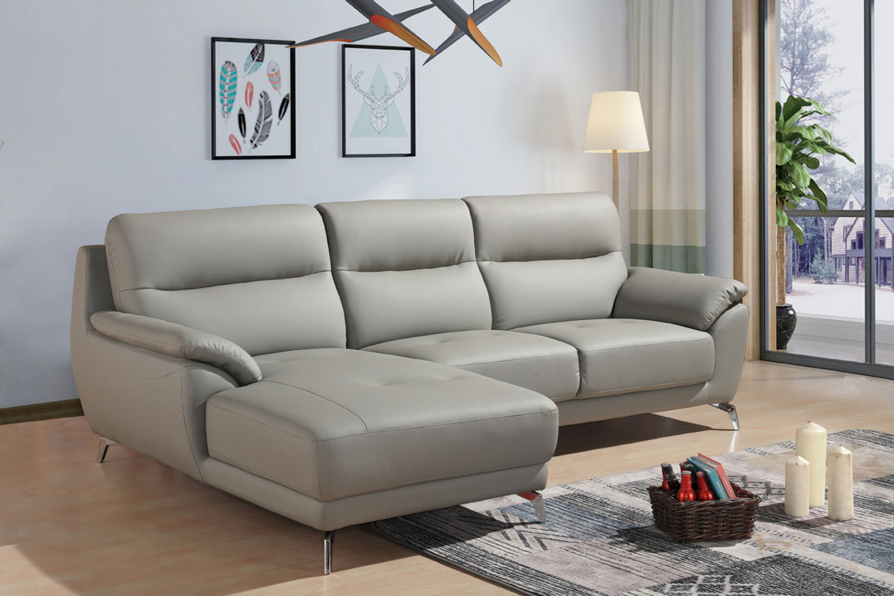 Divani Casa Fortson Modern Grey Eco Leather Sectional Sofa w/ Left Facing  Chaise