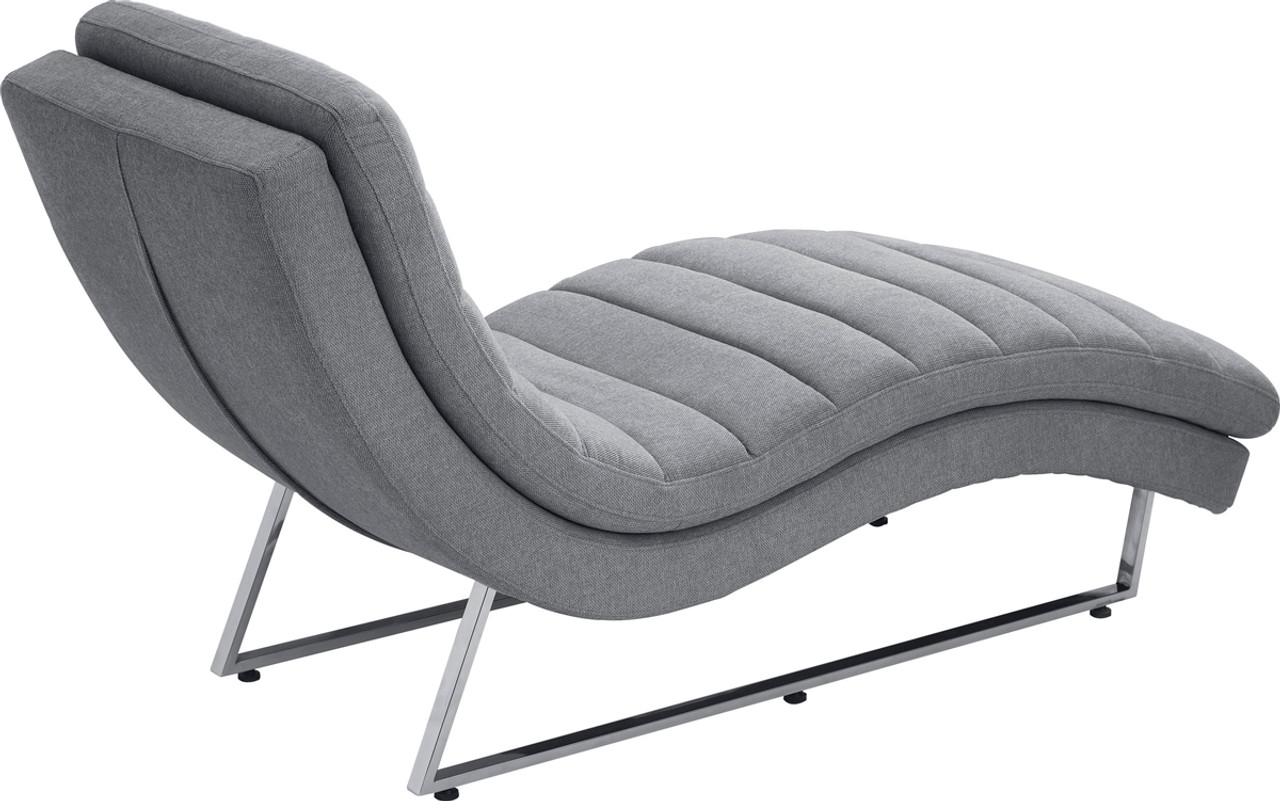 divani casa auburn modern contemporary plush grey fabric lounge chaise