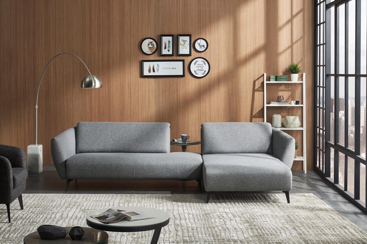 divani casa hardin modern grey fabric sectional sofa