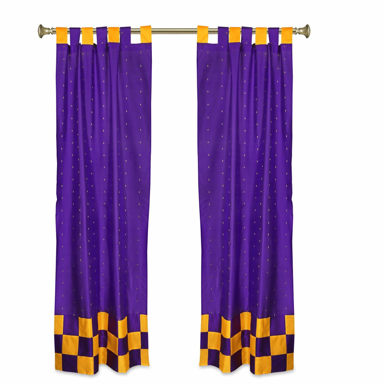 2 eclectic purple indian yellow check sari curtains tab top drapes