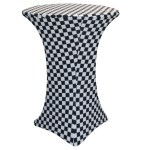 30 Inch Highboy Cocktail Round Stretch Spandex Table Cover Black And White Checkered Your Chair Covers Inc
