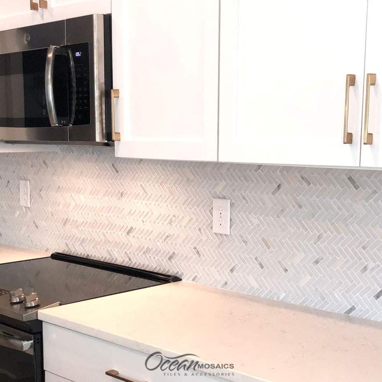 archery white oak herringbone mosaic glass tile