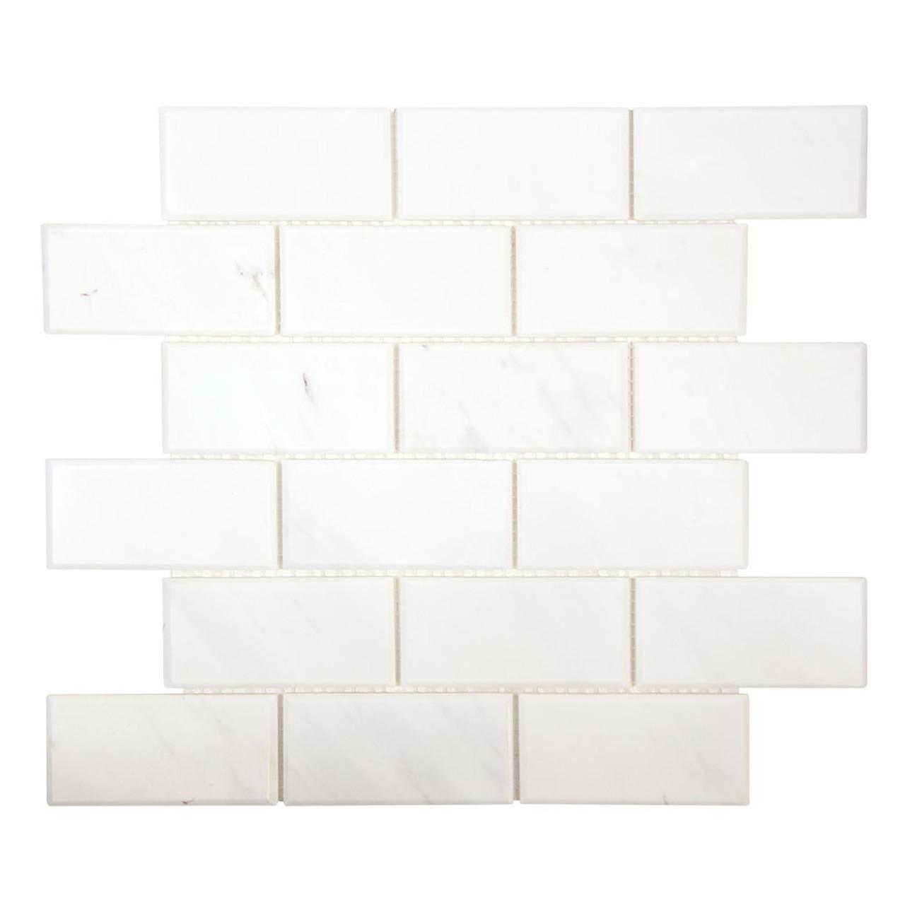 gulfstream volakas 2x4 beveled subway stone tile