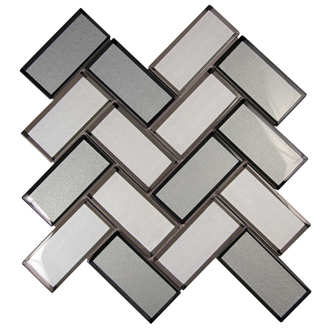 beveled mirror mix herringbone mosaic glass tile