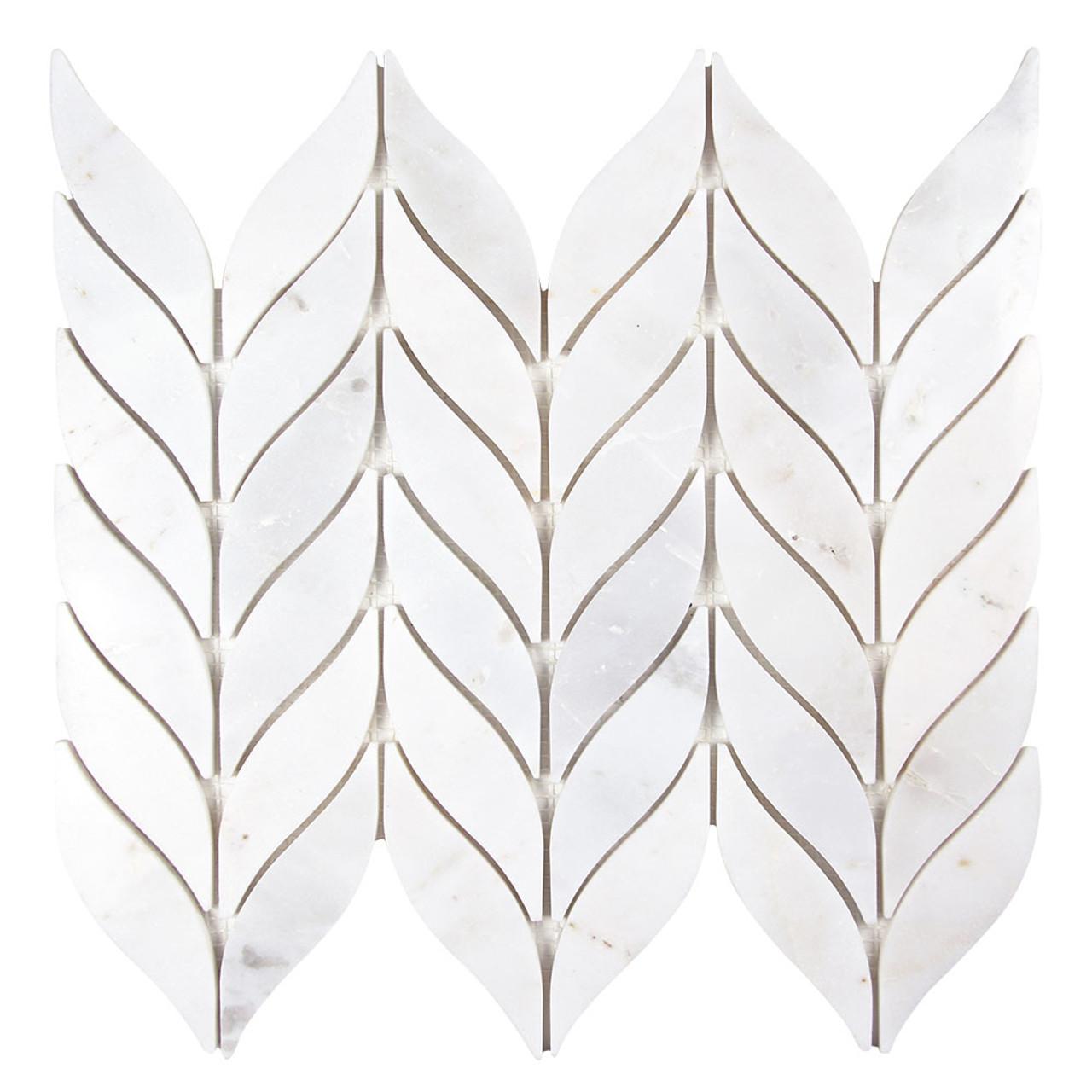 elegance carrara waterjet marble leaf mosaic tile