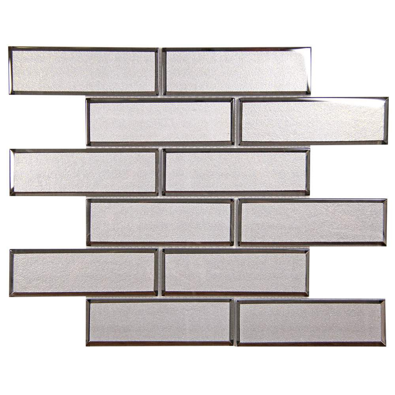 mirror linear white beveled subway glass tile