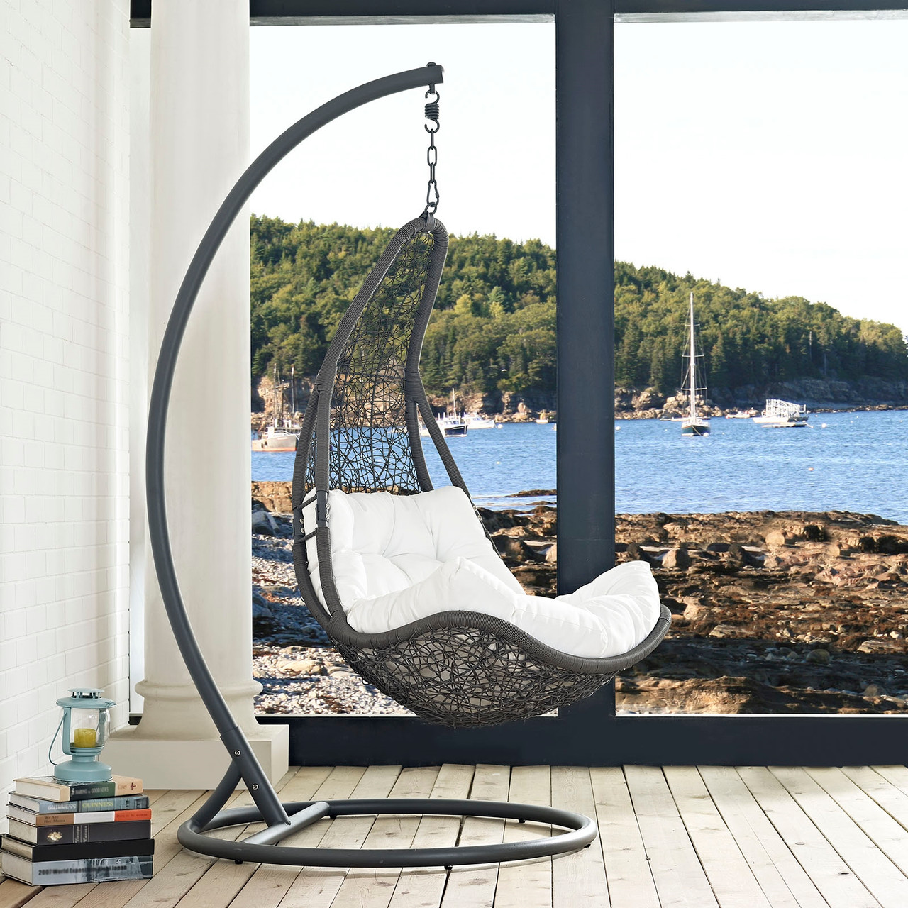 modway abate outdoor patio swing chair with stand gray white