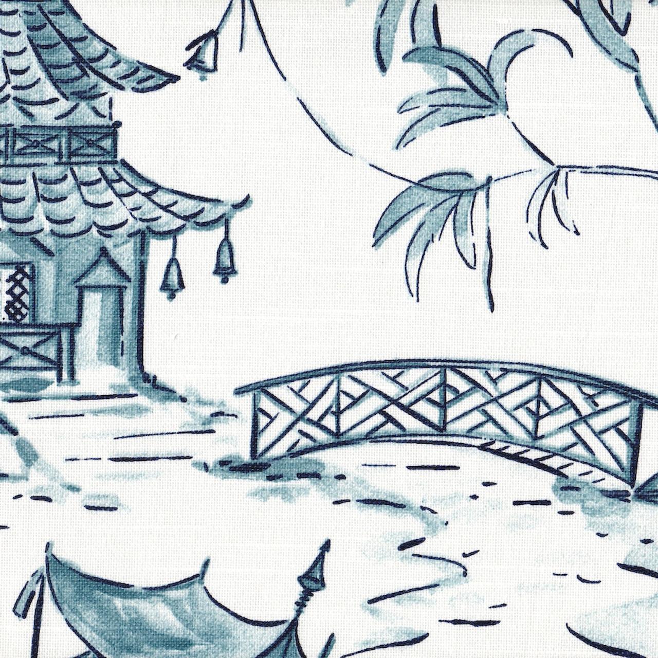 shower curtain in pagodas seaside blue oriental toile
