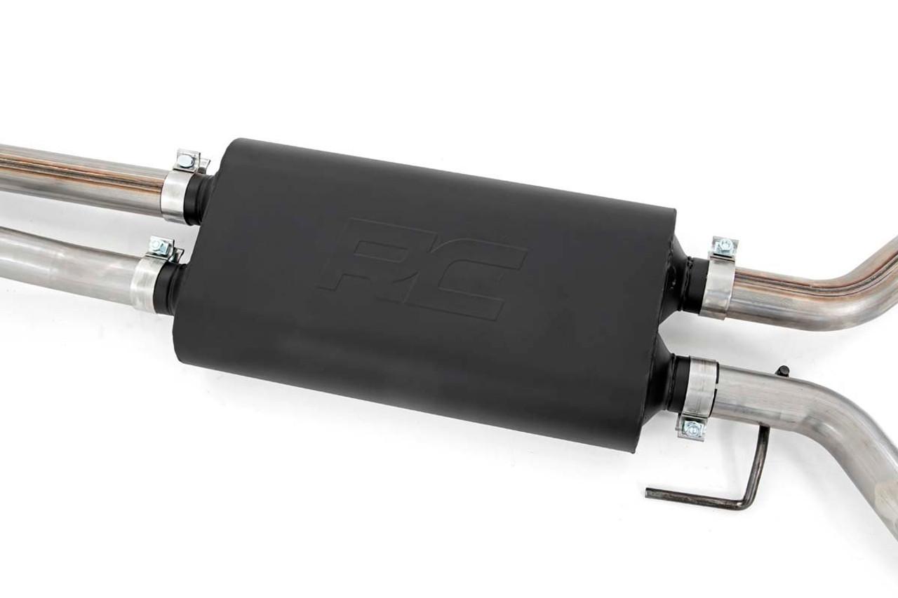 dual cat back exhaust system w black tips 09 20 toyota tundra v8 4 6l 5 7l