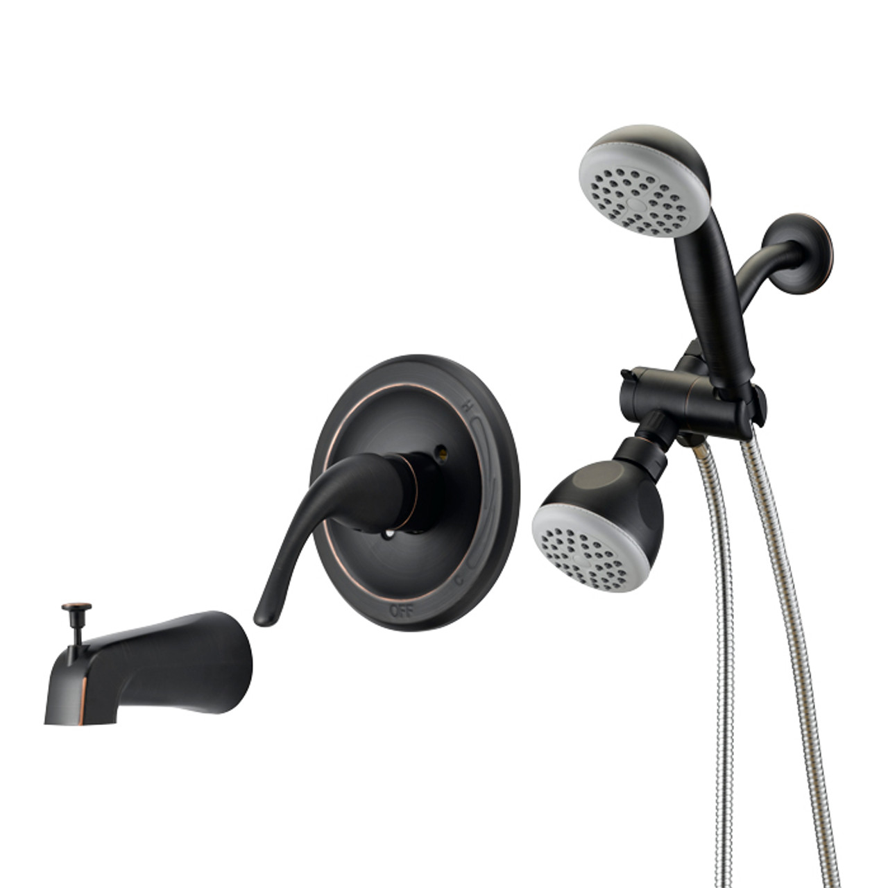 designers impressions 654708 oil rubbed bronze single handle tub shower combo faucet with handheld wand sprayer