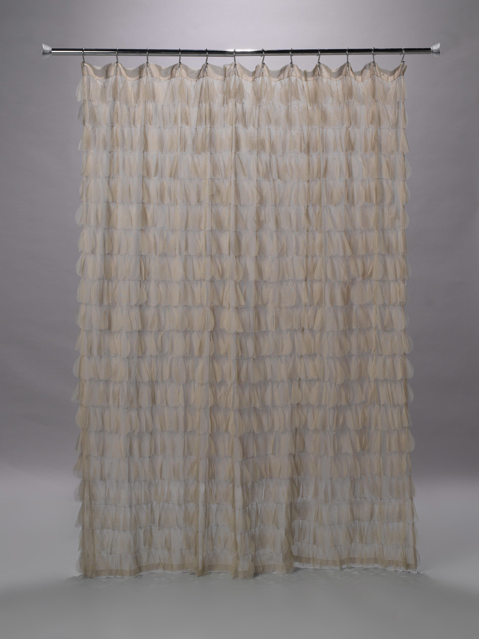 chichi sable taupe cascading tulle petal shower curtain 74 w x 76 l