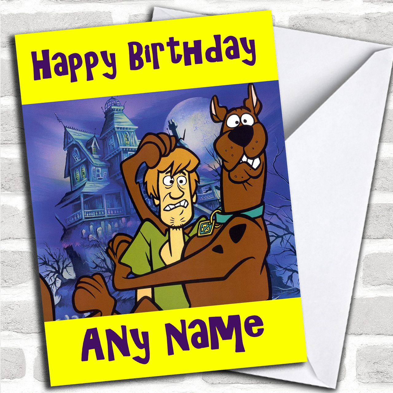 shaggy scooby doo personalized birthday card